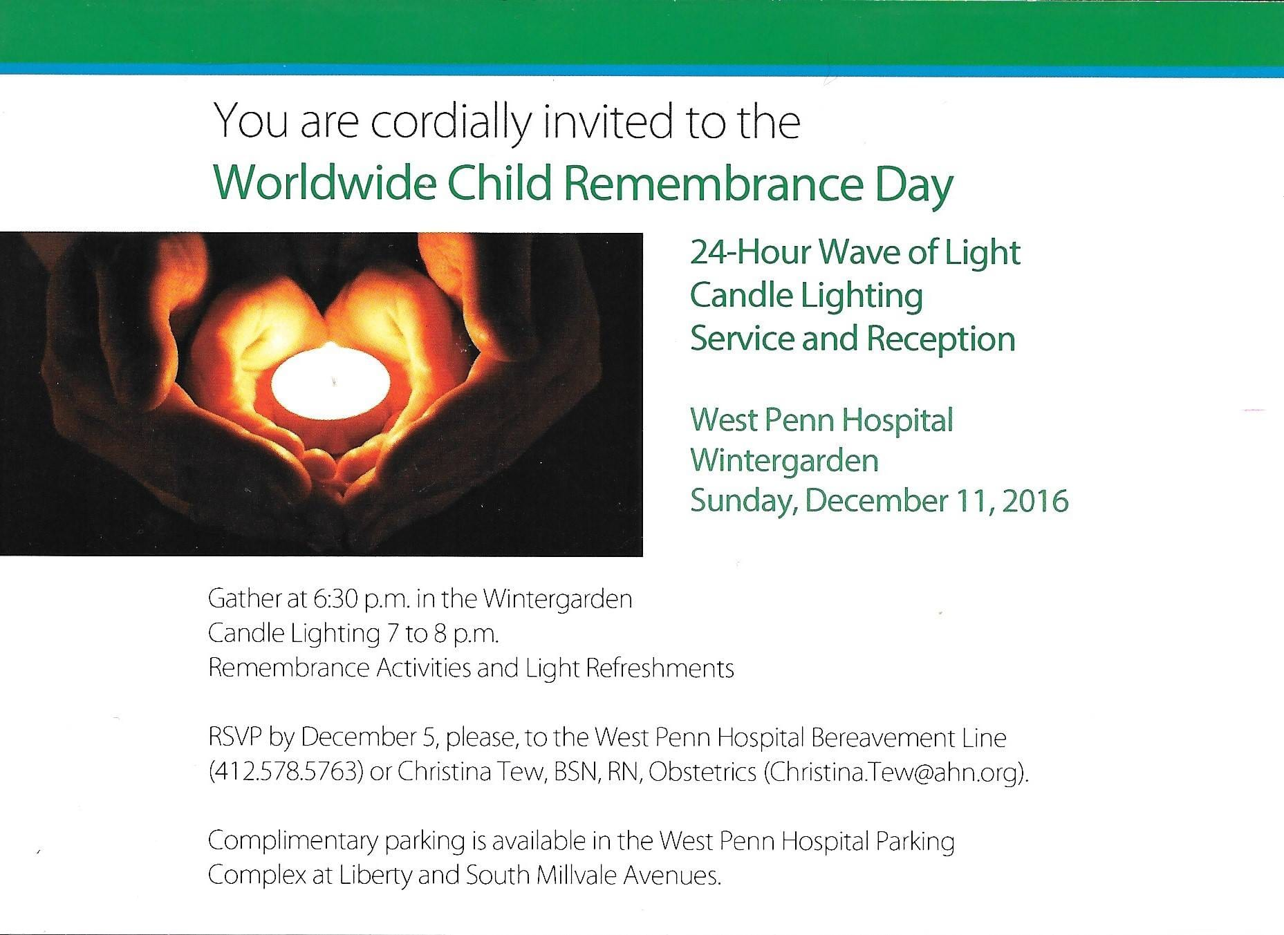 west penn wave of light candle lighting service and reception